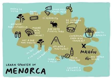learn spanish in menorca postcard cursos de español mercedes leon illustration
