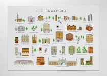 postcards from clerkenwell design week print map  mercedes leon illustration