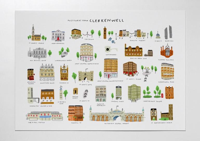 postcards from clerkenwell design week print map  mercedes leon illustration