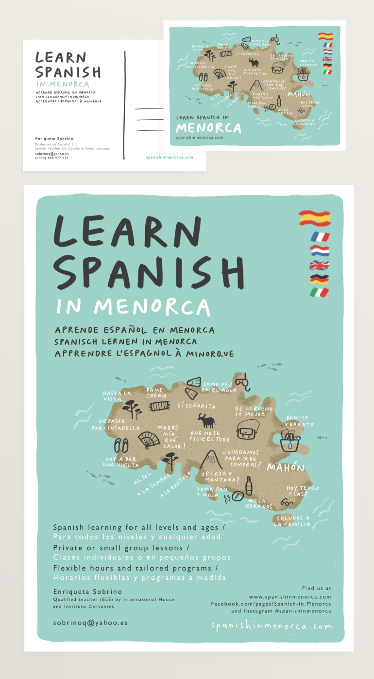 spanish in menorca brand design illustration mercedes leon