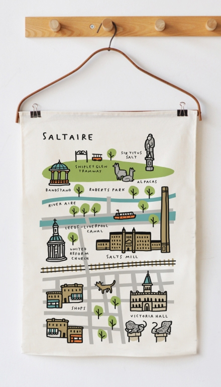 tea towel Saltaire Map for radstudio mercedes leon illustration