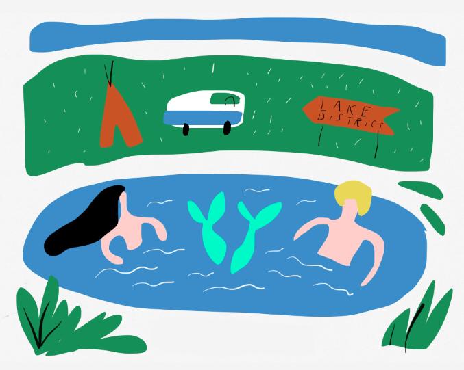 mermaids lake district camping ipad sketch merchesico illustration web