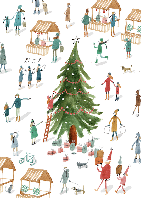 christmas village tree town scene m&s 2014 watercolour people mercedes leon illustration