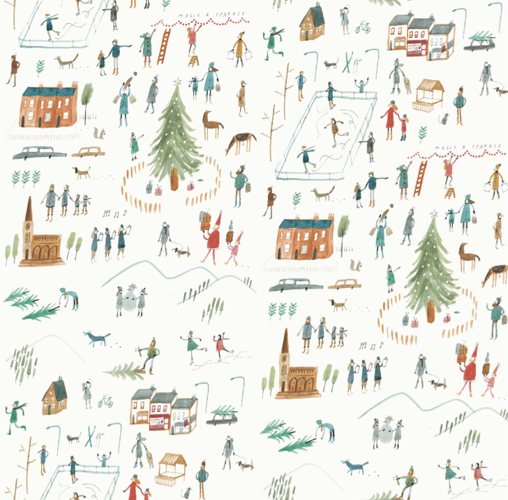 christmas village tree town scene m&s 2014 watercolour people mercedes leon illustration wrapping paper