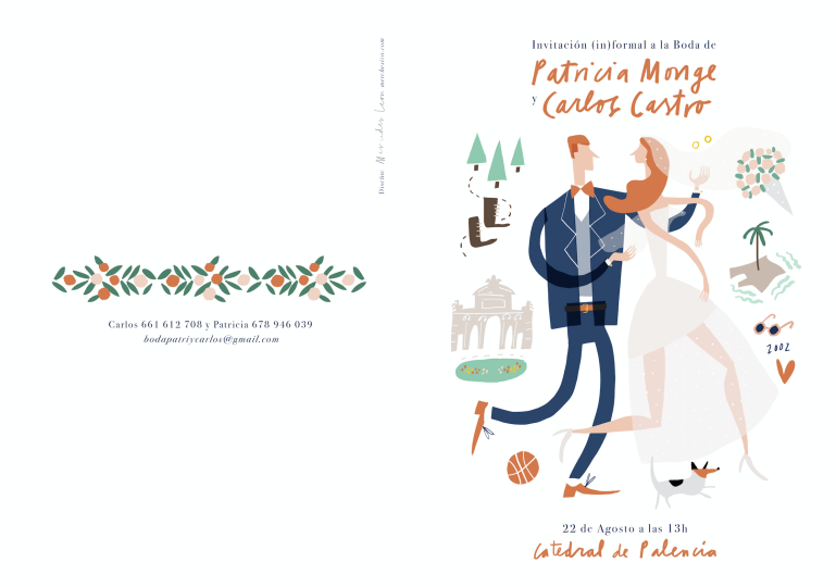 wedding boda lettering invites custom illustration portrait mercedes leon merchesico