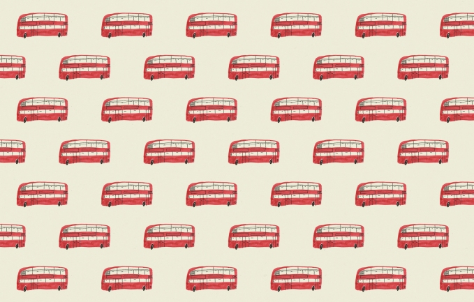 london bus vintage wallpaper pattern mercedes leon illustration