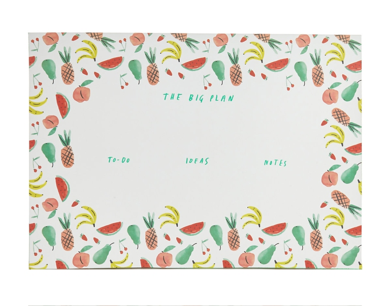 M&S paper library tutti fruity desk pad mercedes leon merchesico illustration