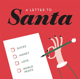 letter to santa hand tickboxes christmas greeting m&s mercedes leon illustration