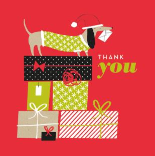 thank you sausage dog christmas greeting m&s mercedes leon illustration