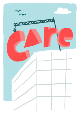 care building blocks baby sitter illustration social media advertising mercedes leon merchesico