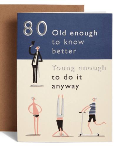 Age Birthday 80 Card M&S merchesico illustration