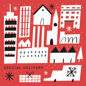 special delivery christmas city red m&s greetings mercedes leon illustrator