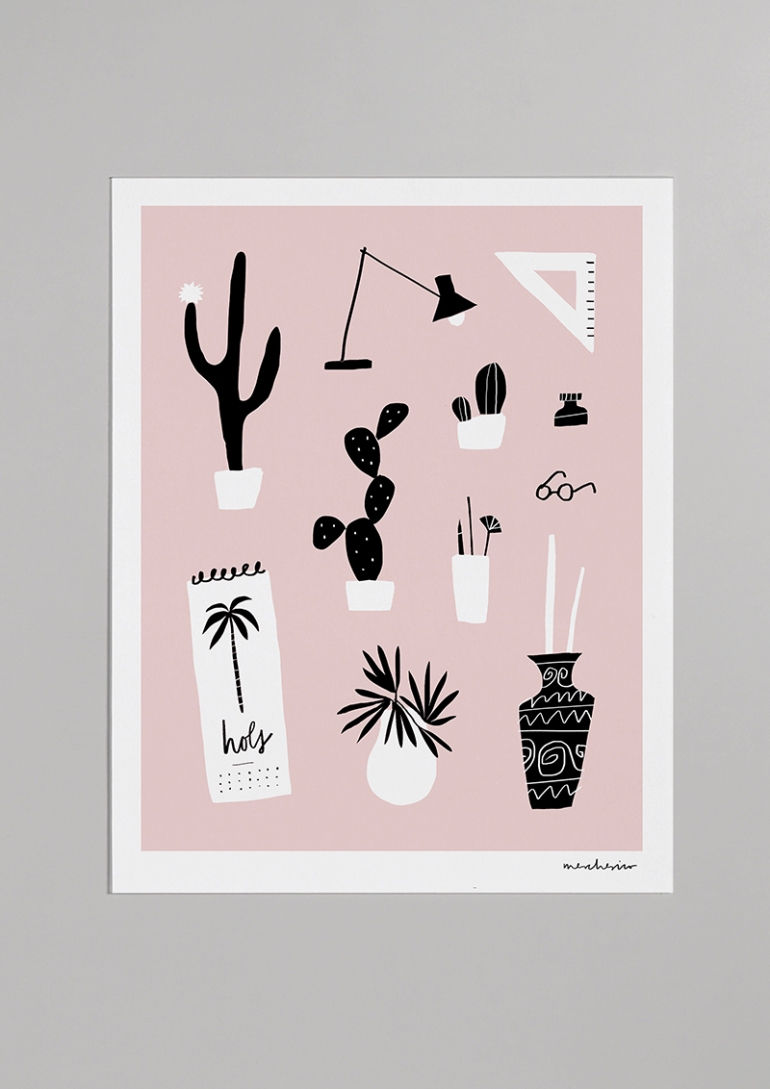 still life desk cacti merchesico mercedes leon illustration glicee print