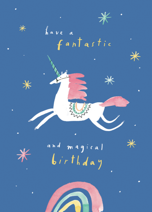 fantastic magical unicorn birtday card mercedes leon illustration
