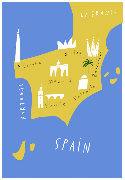 spain map merchesico illustration lettering hand drawing
