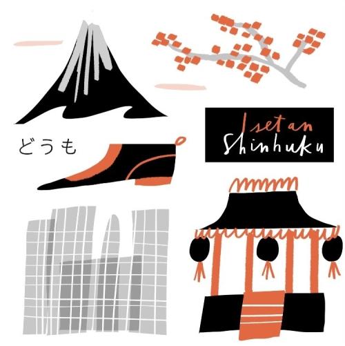 vanassibara shoes_tokyo japan icons_merchesico city illustration
