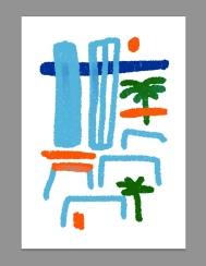 barceloneta sketch postcard merchesico illustration