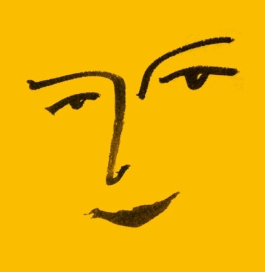 life drawing matisse face kay ink brush mercedes leon merchesico mustard black