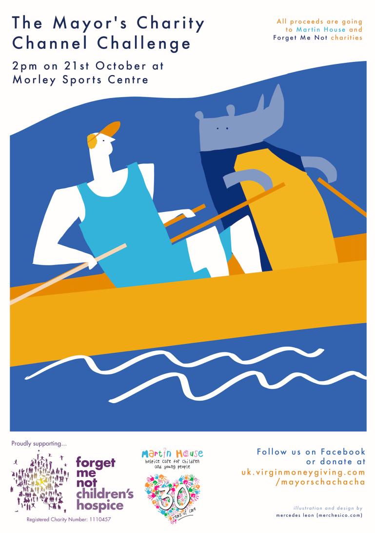 charity poster majors channel challenge leeds rhino mercedes leon merchesico illustration