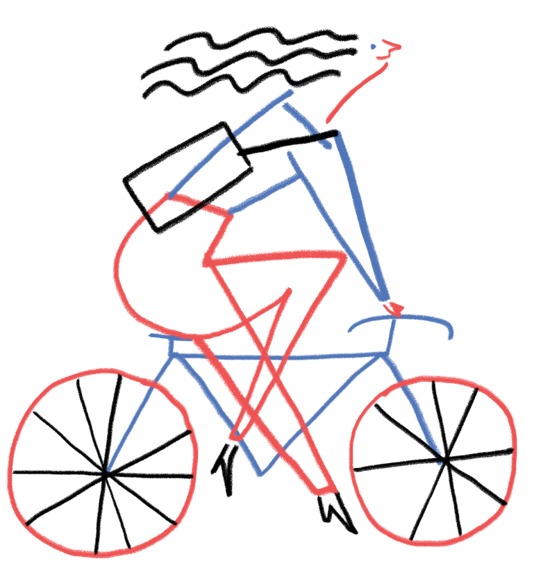 love le velo women riding bike crayon liberte egalite fraternite red blue mercedes leon illustration merchesico illustracion