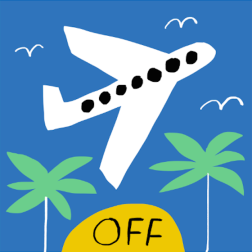 jet off mercedes leon merchesico illustration palms plane holidays journey greeting