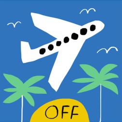 jet off mercedes leon merchesico illustration palms plane holidays journey greeting