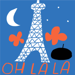 oh la la paris by night eiffel illustration merchesico mercedes leon handwriting