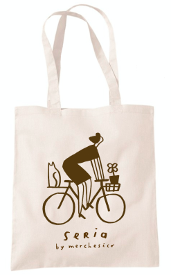 seria japan yen shop color the days mercedes leon illustration eco bag tote cycling bike woman cat