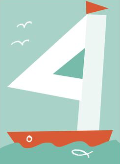 kids numbers birthday cards four boat mercedes leon illustration