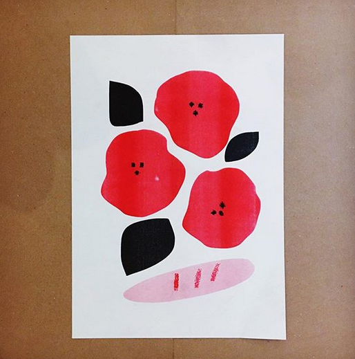 bread and roses a3 2 colour riso print mercedes leon illustration